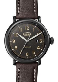 Shinola Runwell Automatic Leather Strap Watch, 45mm