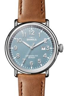 Shinola Runwell Leather Strap Watch, 47mm