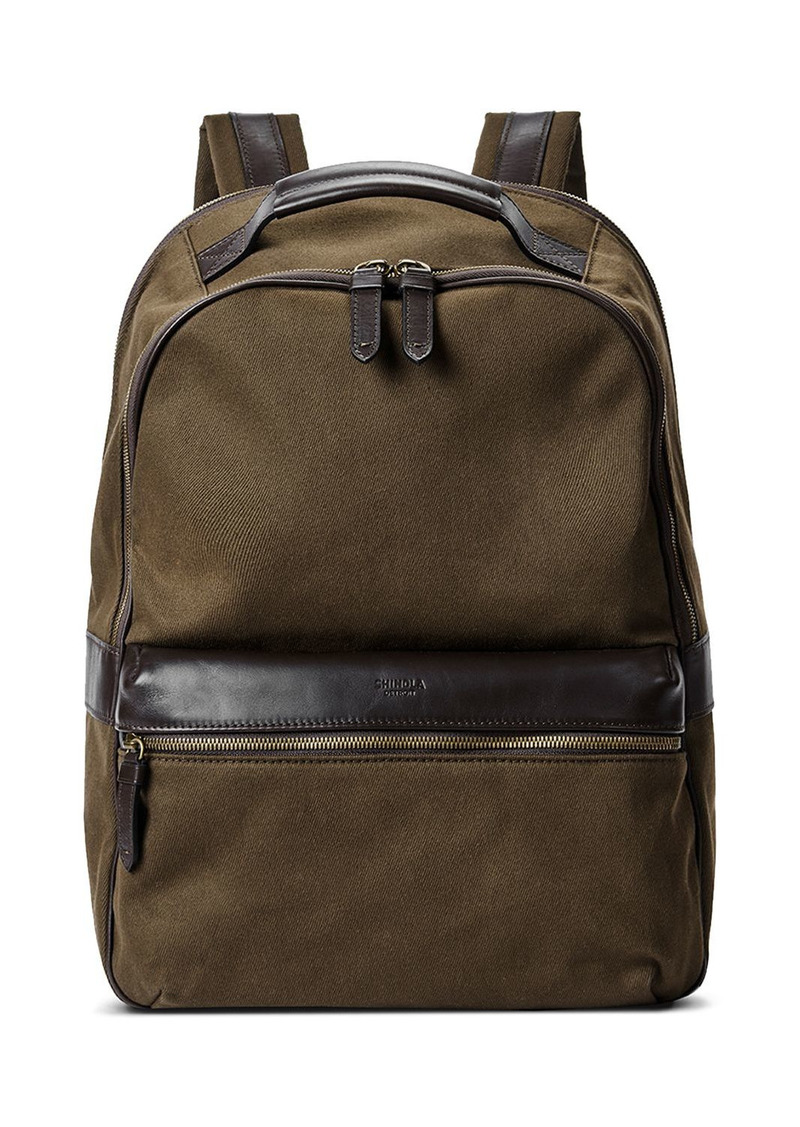 Shinola Runwell Leather Trimmed Canvas Backpack