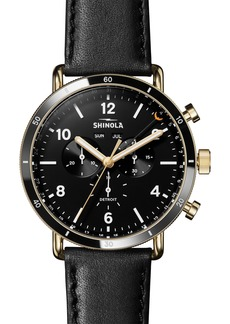 Shinola The Canfield Sport Chrongraph Leather Strap Watch, 45mm