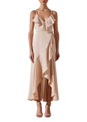 Shona Joy Luxe Ruffle Trim Wrap Gown