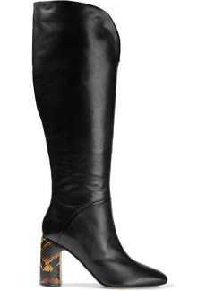 Sigerson Morrison Woman Carona Smooth And Snake-effect Leather Knee Boots Black