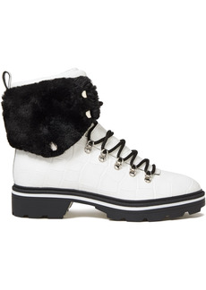 Sigerson Morrison Woman Faux Fur-trimmed Croc-effect Leather Ankle Boots White