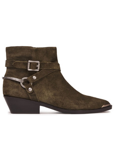Sigerson Morrison Woman Jade Buckled Suede Ankle Boots Army Green