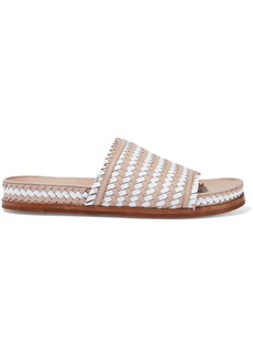 Sigerson Morrison Woman Two-tone Woven Leather Slides Blush