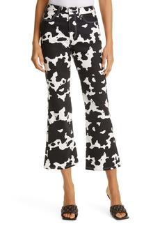 Simon Miller Bell Bottom Jeans (Black & White Cow Print)