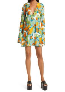 Simon Miller Floral Cotton & Modal Terry Long Sleeve Hoodie Dress