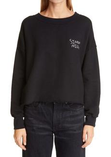 Simon Miller Logo Embroidered Crop Cotton Sweatshirt
