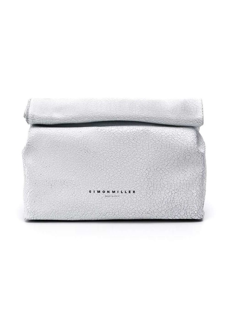 Simon Miller white logo clutch bag