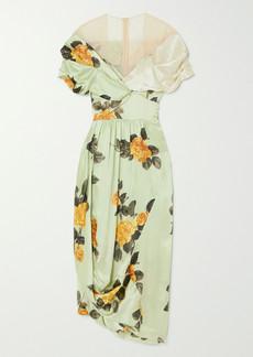 Simone Rocha Asymmetric Bow-detailed Floral-print Silk-satin And Tulle Dress