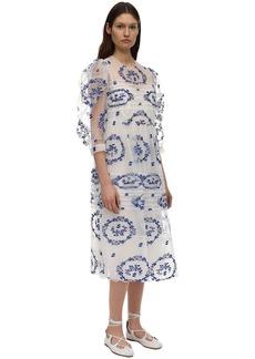Simone Rocha Delft Embroidered Tulle Midi Dress