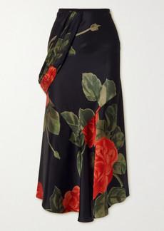 Simone Rocha Draped Floral-print Silk-satin Midi Skirt