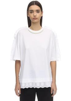 Simone Rocha Faux Pearl & Lace Cotton Jersey T-shirt