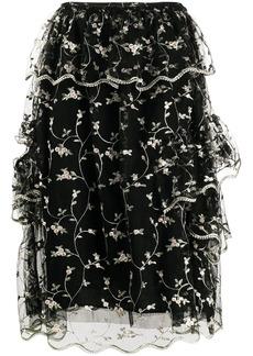 Simone Rocha ruffled floral-embroidered skirt