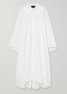 Simone Rocha Scalloped Embroidered Cotton-poplin Maxi Dress
