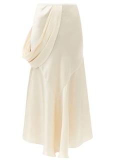 Simone Rocha Draped-side silk-satin slip skirt