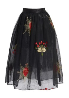 Simone Rocha Draped Tulle Midi Skirt