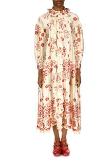 Simone Rocha Frilled Long Sleeve Silk Dress
