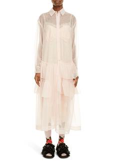 Simone Rocha Tiered Ruffle Hem Long Sleeve Midi Shirtdress