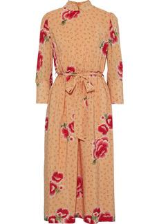 Simone Rocha Woman Belted Floral-print Silk Crepe De Chine Midi Dress Pastel Orange