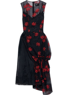 Simone Rocha Woman Draped Embroidered Tulle Midi Dress Black