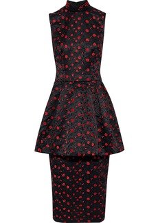 Simone Rocha Woman Embroidered Satin Peplum Midi Dress Black