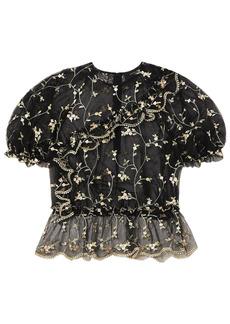 Simone Rocha Woman Ruffle-trimmed Embroidered Tulle Peplum Top Black