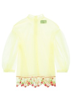 Simone Rocha Woman Scalloped Floral-embroidered Tulle Blouse Chartreuse