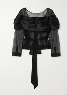 Simone Rocha Tie-detailed Tulle And Silk-satin Top