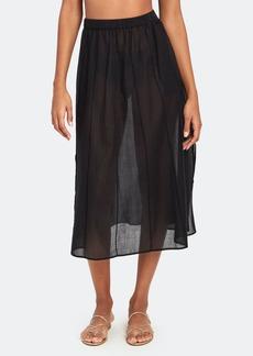 skin Beatriz Semi Sheer Midi Skirt
