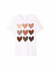 Diversity Hearts Skin Tone Melanin Hearts Gift Premium T-Shirt