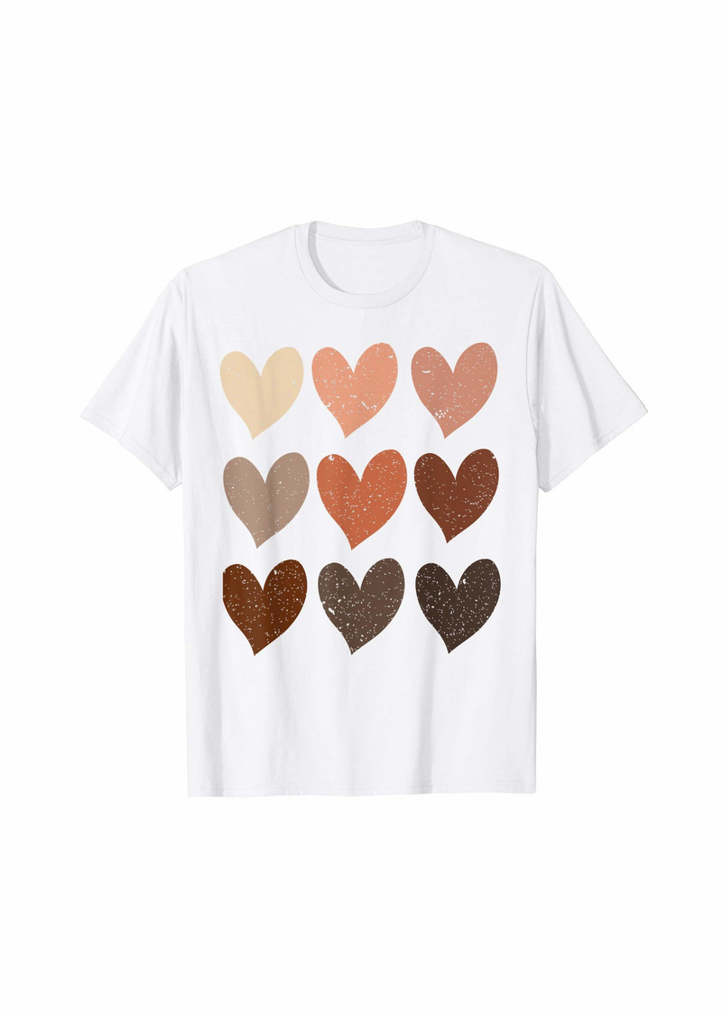 Diversity Hearts Skin Tone Melanin Hearts Gift T-Shirt