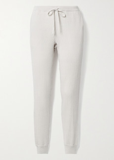 skin Maizie Ribbed Cotton And Cashmere-blend Track Pants