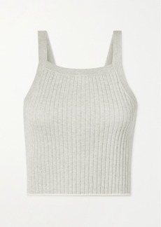 skin Mariya Cropped Ribbed Cotton And Cashmere-blend Tank