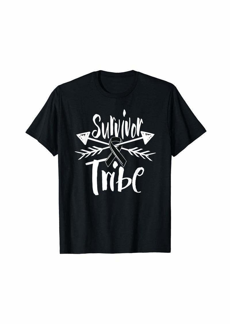 skin Melanoma Awareness Shirt Ribbon Survivor Tribe Gift T-Shirt