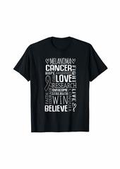 skin Melanoma Awareness Shirt Word Cloud Ribbon Gift T-Shirt