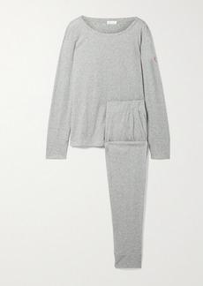 skin Net Sustain Cassandra Embroidered Organic Cotton-jersey Pajama Set