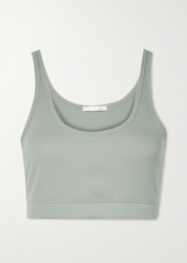 skin Net Sustain India Cropped Ribbed Stretch-organic Pima Cotton Jersey Top