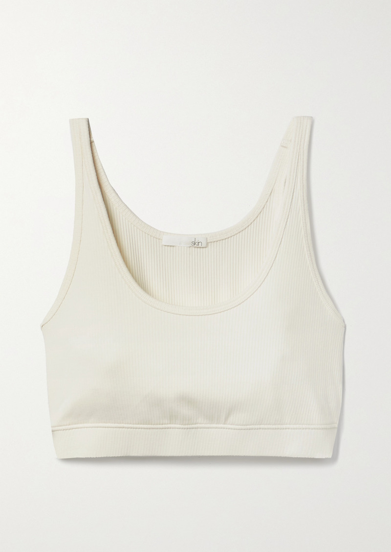 skin Net Sustain India Cropped Ribbed Stretch-organic Pima Cotton Top