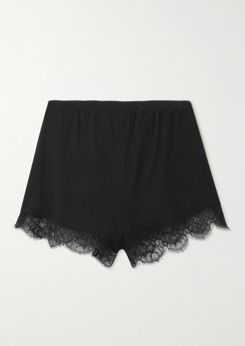 skin Net Sustain Mandy Lace-trimmed Organic Pima Cotton-jersey Shorts