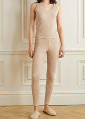 skin Net Sustain Naima Button-embellished Ribbed Stretch Organic Pima Cotton And Modal-blend Tank