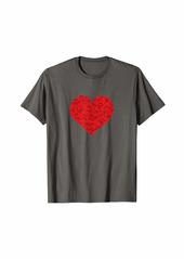 skin Red Heart Love Valentines Gift for Girlfriend Women Him Her T-Shirt