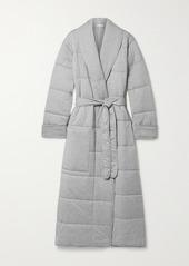 skin Sierra Quilted Mélange Cotton-jersey Robe