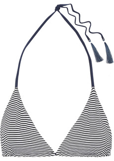 Skin Woman Joan Reversible Striped Triangle Bikini Top Navy