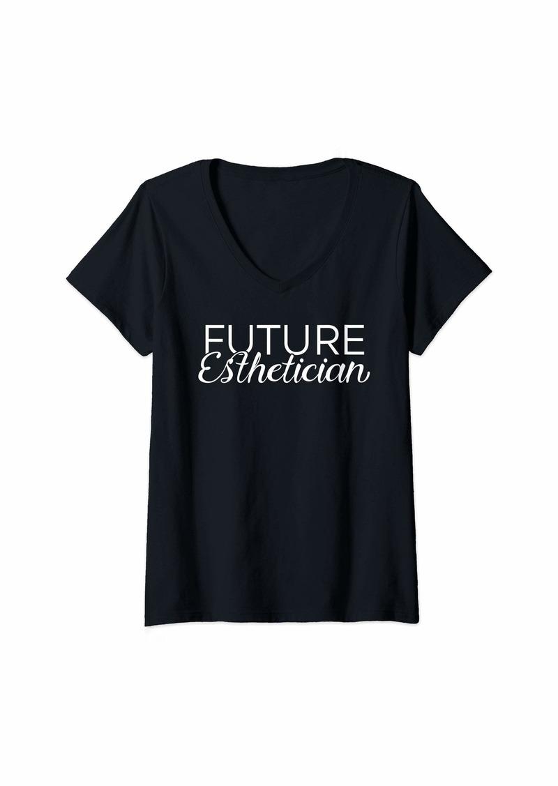 skin Womens Cute Future Esthetician - Esthetics Student V-Neck T-Shirt