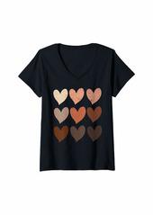 Womens Diversity Hearts Skin Tone Hearts V-Neck T-Shirt