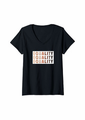 Womens Equality Skin Tone Equality Melanin V-Neck T-Shirt