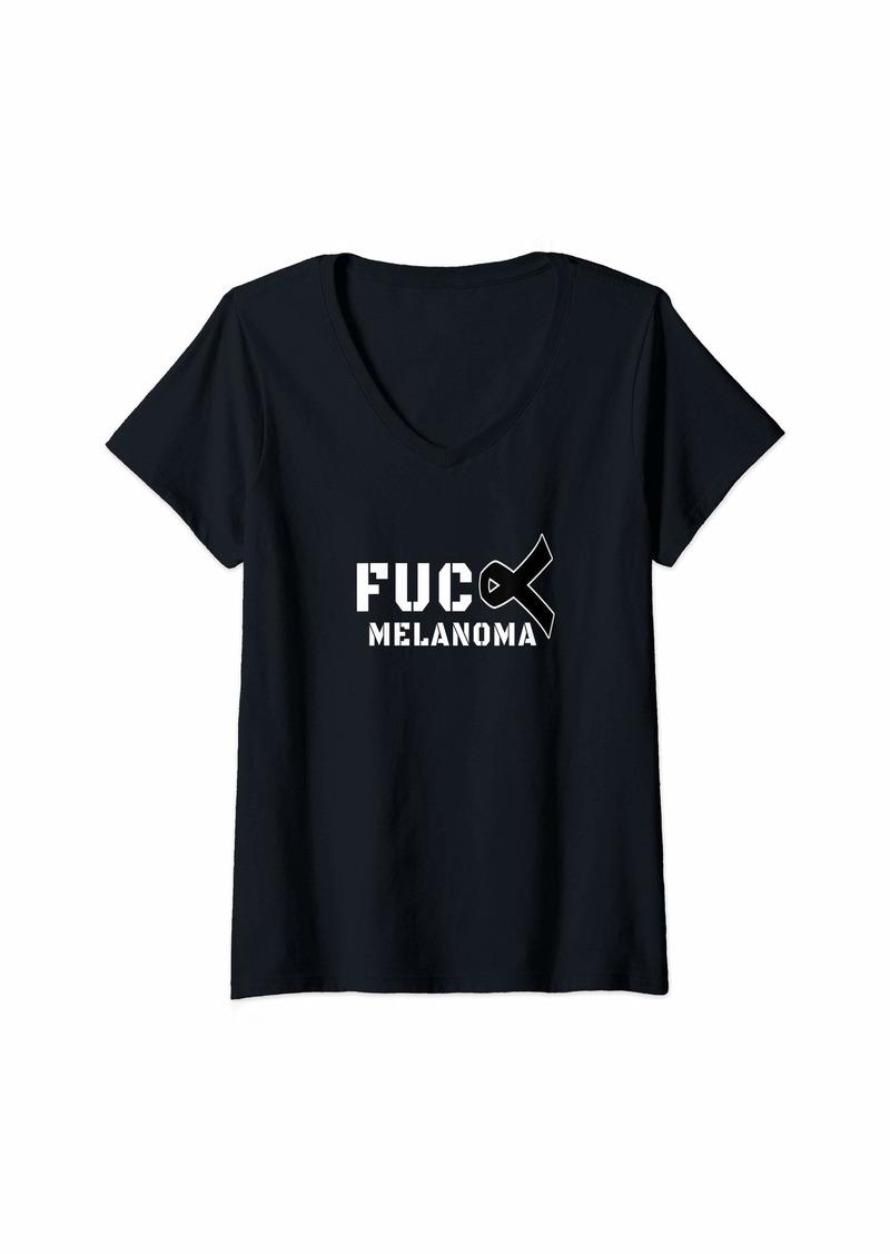 Womens Fuck Melanoma Skin Cancer Awareness V-Neck T-Shirt