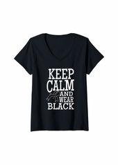 skin Womens Melanoma Awareness Keep Clam Ribbon Shirt Gift V-Neck T-Shirt