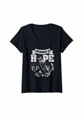 skin Womens Melanoma Awareness Shirt Boat Anchor Hope Gift V-Neck T-Shirt